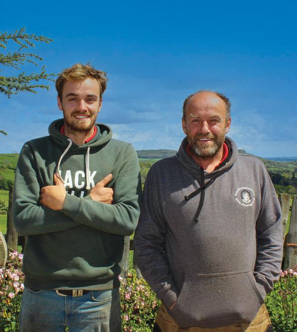 Farmers Martyn Jones (right) and son Gruff
